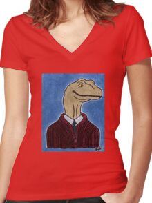 Mr. Raptor's Neighborhood  Women's Fitted V-Neck T-Shirt