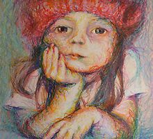 Red Hat - Portrait Of A Girl by Nancy Mauerman