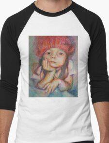 Red Hat - Portrait Of A Girl Men's Baseball ¾ T-Shirt