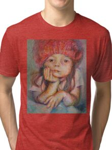 Red Hat - Portrait Of A Girl Tri-blend T-Shirt