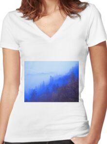 MOUNTAIN MIST Women's Fitted V-Neck T-Shirt