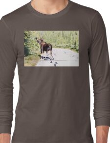 Bull Moose Munching in The Road Long Sleeve T-Shirt