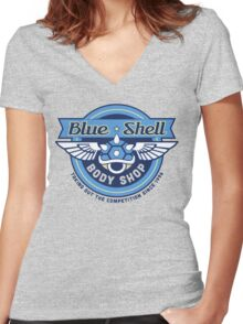 Blue Shell Auto Body Women's Fitted V-Neck T-Shirt