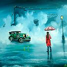 THE RENDEZVOUS rainy day red umbrella oil painting by gordonbruce