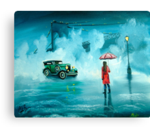 THE RENDEZVOUS rainy day red umbrella oil painting Canvas Print
