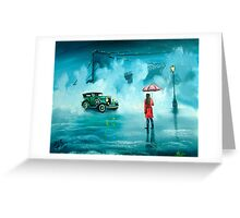 THE RENDEZVOUS rainy day red umbrella oil painting Greeting Card