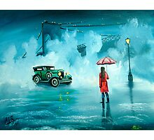 THE RENDEZVOUS rainy day red umbrella oil painting Photographic Print