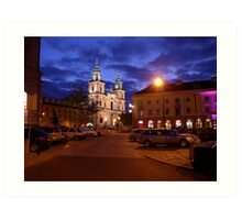 Church of the Holy Cross early evening - Warsaw, Poland Art Print