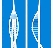 Spinnaker Tower on Blue by jripleyfagence