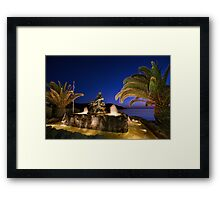 Mermaid illuminated at dusk, in Syros Greece Framed Print