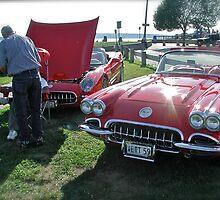 Retro Corvette Flanks a Classic 59 Vette at Oakland Beach by Jack McCabe