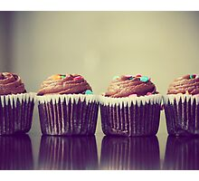 Cupcakes Lined Up Photographic Print