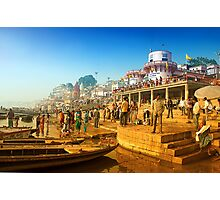 Life At Varanasi Ghat Photographic Print