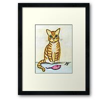 I Brought  You a Present - Watercolor & Ink Cat Framed Print