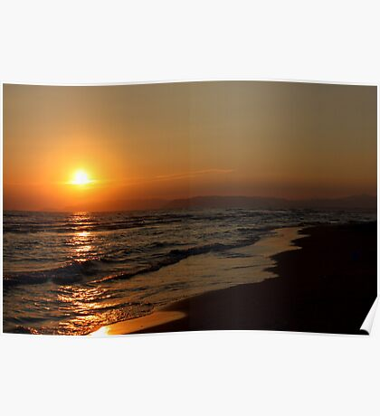 Sea at sunset Poster