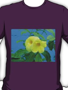 Blue Wall and Yellow Flowers T-Shirt