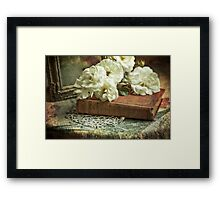 Antique white roses Framed Print