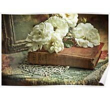 Antique white roses Poster