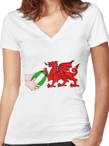 Wales Rugby Flag Women's Fitted V-Neck T-Shirt