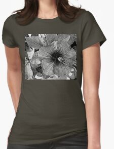 hibiscus in black and white T-Shirt