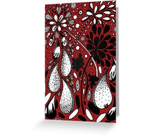 Flower Shower in Red Greeting Card