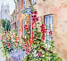 Hollyhocks at Stoke by Nayland by Ann Mortimer