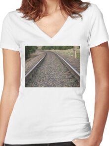 42 Train Tracks Women's Fitted V-Neck T-Shirt