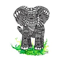 Watercolor and Ink Mandala Elephant  Photographic Print