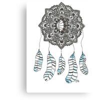 Watercolor and Ink dream catcher (blue) Canvas Print