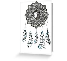 Watercolor and Ink dream catcher (blue) Greeting Card