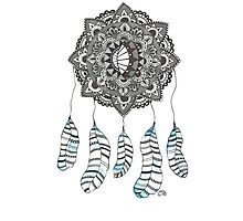 Watercolor and Ink dream catcher (blue) Photographic Print