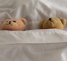 """""""This bed is just right"""" sleeping little Teddy Bears Children's Art by Rick Short"""