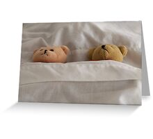 """""""This bed is just right"""" sleeping little Teddy Bears Children's Art Greeting Card"""