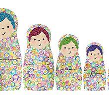 Rainbow Matryoshka Nesting Dolls by ElephantTrunk