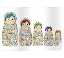 Rainbow Matryoshka Nesting Dolls Poster