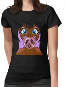 Lavender Bubble Kitty Womens Fitted T-Shirt