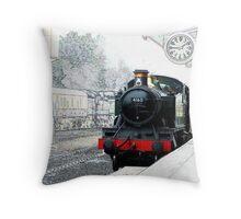 Steam Train at Minehead Station Throw Pillow