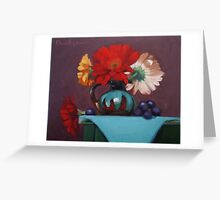 Daisies in Turquoise - southwest pottery, daisies, floral Greeting Card
