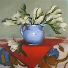 Morris was Here - oil painting of white freesias floral still life by DianeHoeptner