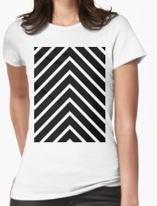 Black and White Chevron Womens Fitted T-Shirt