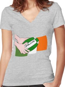 Rugby Ireland Flag Women's Fitted V-Neck T-Shirt