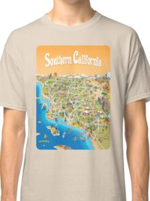 Sunny Cartoon Map of Southern California Classic T-Shirt