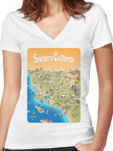Sunny Cartoon Map of Southern California Women's Fitted V-Neck T-Shirt