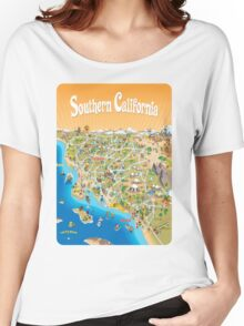 Sunny Cartoon Map of Southern California Women's Relaxed Fit T-Shirt