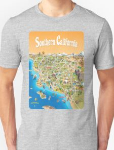Sunny Cartoon Map of Southern California T-Shirt