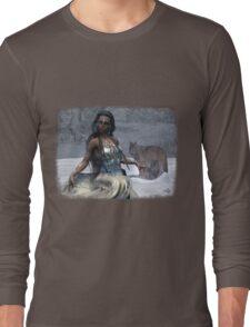 Native American Fantasy 1: Winter Wolf Long Sleeve T-Shirt