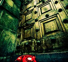 Retro red phone outside a spooky wooden door by Sharonroseart