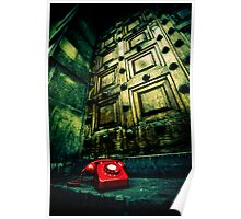 Retro red phone outside a spooky wooden door Poster