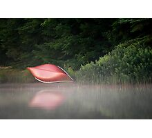 Red Canoe in the Mist Photographic Print