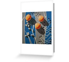 Apricots and Pistachios on Vintage Blue and Grey Fabric Greeting Card